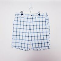 Quiksilver Mens Size W36 White Blue Check Plaid Walk Shorts
