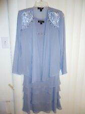 Sz 8 S.L. FASHION Evening Mother of the Bride dress w/jacket gray beaded tiered
