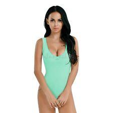 Women Sleeveless Bodysuit High Cut Leotard Stretch Top Blouse Thong Body Suit