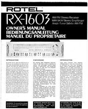Rotel RX-1603 Receiver Owners Manual