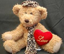 """Valentine Teddy Bear Red Love Heart Leopard Print Tie Hat  Dan Dee Plush 10"""" Toy"""