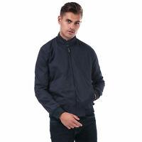 Mens Ben Sherman Harrington Jacket In Navy- Zip Fastening- Pockets To Sides-
