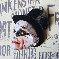 GoTh HORROR FACE VINTAGE DOLL HEAD TOP HAT CLOWN WOODEN PRINTED BROOCH PIN 50mm
