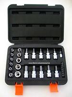 Steckschlüssel Satz Torx Innen & Außen Bits Nüsse Set 29 tlg Torx T & E Profil