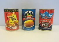 3 CANS OF CINCINNATI STYLE CHILI  (10 OUNCE CANS) 1 DIXIE 1 GOLD STAR  1 SKYLINE