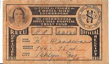 Vintage Sherbrooke Hotel Donation Receipt-Circa 1934 # 22566