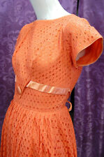 50s PINUP! TANGERINE/ORANGE EYELET party dress VLV rockabilly swing Fabulous