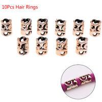 10Pcs/Set Hair Coil Dreadlocks Braid Tube Rings Metal Cuffs Hair Jewelry Deco Gw