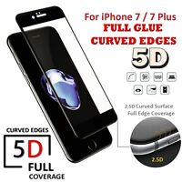 5D Full Glue Coverage Tempered Glass Protector For Apple iPhone 7,8 Plus BLACK