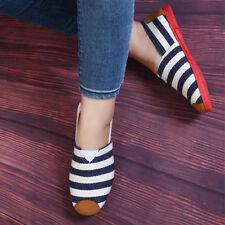 Lao Beijing Classic Stripes Canvas Comfortable Flat Shoes for Ladies Size 8 EU39