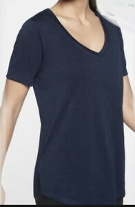 ATHLETA Breezy Scoop V Tee Navy Top Shirt Women Size L  New
