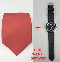 BRIONI Pure Silk Red ITALY - Free Watch Octavius