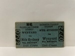 NSWGR Railway Technical College Student Ticket Wynyard to Nth Sydney Unused Rare