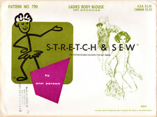 """1967 UNCUT Stretch & Sew Master Sewing Pattern # 790 """"Ladies' Body Blouse"""" 28-40"""