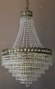 Empire Antique Lighting Crystal Chandelier, Vintage Home & Living Lamp Pendant