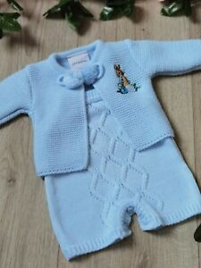 BABY BOYS SPANISH KNITTED POM POM SUIT  PETER RABBIT  EMBROIDERED