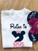Disney Minnie Mouse Second Birthday Tshirt 2nd Two Outfit Girls Age Top I Am