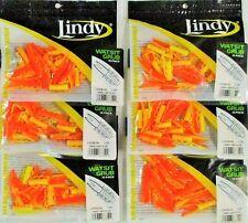 "(6) Packs Of 15 Lindy 1.75"" Soft Plastic Watsit Grubs Org/Chart Yellow LWGB142"