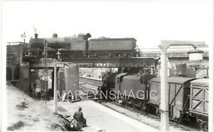 B5 British Railway Photograph Lichfield Trent Valley 49106 crossing 8F on high l