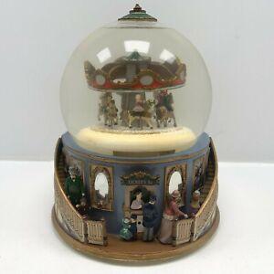 Mr Christmas Victorian themed Carousel Mechanical Snow Globe Very rare 90s