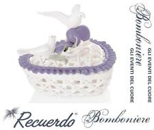 BOMBONIERA Made in Italy SCATOLA CUORE in PORCELLANA LILLA-BIANCA COLOMBE CALLE