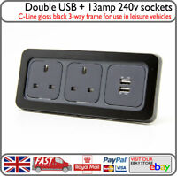 C-Line 3 Way Gloss Black Frame 240v 13a Mains Plug Socket & USB Motorhome Yacht