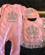 Romany Bling Baby Girls' Princess Sleepsuit Frilly Bib Hat 0-3 Gift Set