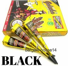 FRESH !! 50 CONES  GOLECHA BLACK Henna Paste Mehndi Cones Temporary Tattoo UK