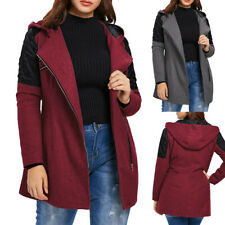 Plus Size Women Winter Hoode Coat Ladies Warm Woolen Zipper Coats Jacket Outwear