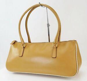 Authentic PRADA Beige Leather Tote Handbag Purse #40548B