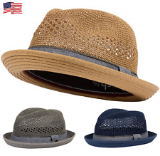 deed6274ab3 Porkpie Pork Pie Fedora Hat Trilby Cuban Cap Paper Straw Up Short Brim  Fashion