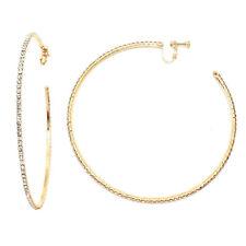 Große Kreolen Creolen Ohrclips Clips Clip Ohrringe Gold Kristall Klar 10,5 cm