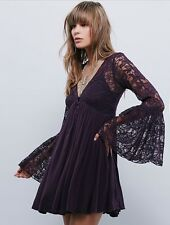 Rare Free People With Love Lace Bell Sleeve Festival Mini Dress XS