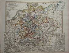 1846 SPRUNER ANTIQUE HISTORICAL MAP ~ GERMANY 30 YEAR WAR WESTFAL PEACE