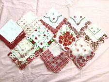 Vintage Christmas Handkerchief Hanky Lot~Unused~Flocked~Santa~ Poinsettia