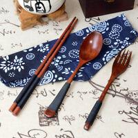3PCS Chinese Vintage Wooden Chopsticks Spoon Fork Tableware Set Value Gift AU