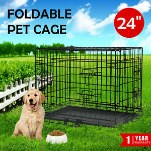 """Portable Pet Dog Cage 24"""" w/Tray Collapsible Metal Crate Kennel Puppy Cat House"""