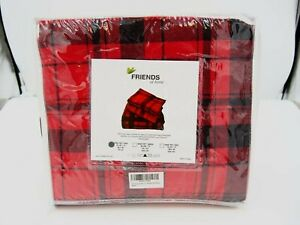 Friends at Home Red & Black Plaid 3 Piece Twin Sheet Set