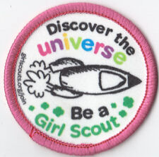 Girl Scouts Embroidered Badge Fun Patch Badge~Discover the Universe Rocket Pink