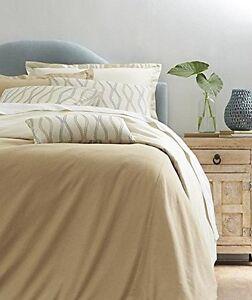 NEW Home SANTORINI BEDDING SET Beige Queen Duvet Bolster 2 Pillow +2 Euro Shams