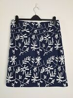 Jham Designer Blue Embroidered Floral Felt Pencil Skirt Women's Size 12 Business