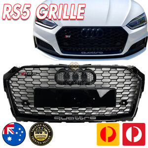 Gloss Black Honeycomb RS5 Style Bumper Bar Grille Grill for AUDI A5 S5 F5 16-20