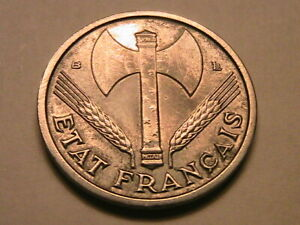 1944-B France Franc Original AU Lustrous WWII Vichy State French One Franc Coin