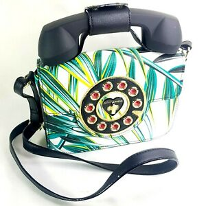 Betsey Johnson Kitsch Leafy Abstract Telephone Phone Crossbody Bag Hotline