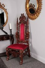 Throne Lion King Wedding High Back Mahogany Red Velvet Chair Antique Medium