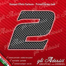 Adesivo Stickers NUMERO 2 moto auto cross gara Carbon Effect Back 10 cm