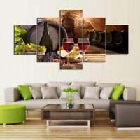 Multi Panel Print Wine Cellar Tasting Canvas 5 Piece Glass Barrel Grape Wall Art