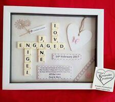 ENGAGEMENT GIFT FRAME PERSONALISED PICTURE KEEPSAKE SCRABBLE LETTER TILE BOX