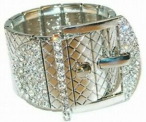 Silver Buckle Stretch Bracelet Accented with Sparkling Clear Crystals