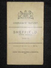 Vintage Ordnance Survey (O/S) Map of Sheffield, 1908 -  Sheet 13 South Yorkshire